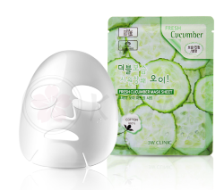 3W Clinic Тканевая маска для лица с экстрактом огурца Fresh Cucumber Mask Sheet